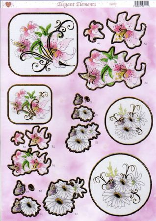 Lily & Daisy Elegant Elements Gold Foiled Die Cut 3d Decoupage Sheet From Craft UK Ltd